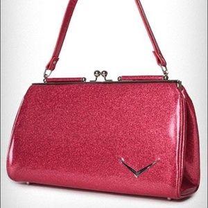 Lux de Ville Getaway Kiss Lock Purse Pink Sparkle